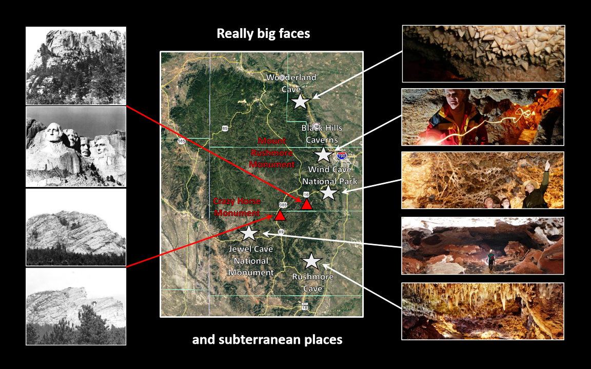 Picture montage of Black Hills caves, Crazy Horse Monument and Mount Rushmore Monument
