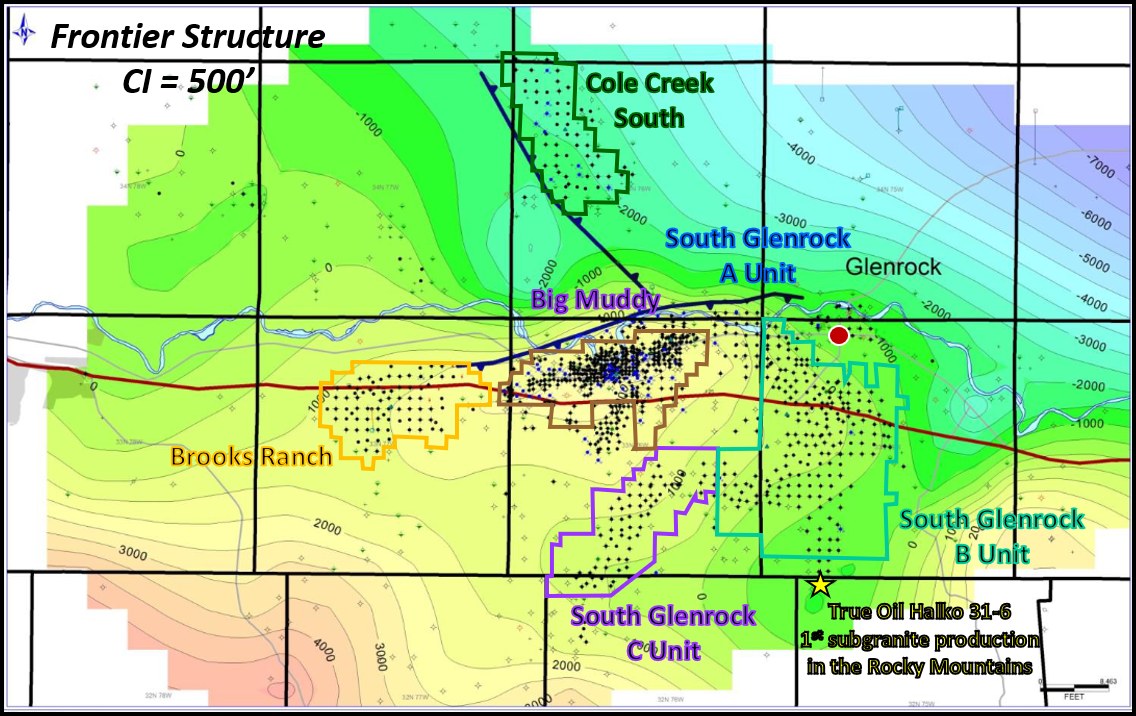 Geologic Frontier Formation structure map of Big Muddy Oil Field complex, Glenrock, Wyoming