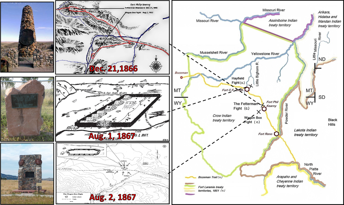 Pictures and map of major battlefields in Red Cloud's War, 1866 to 1868, Wyoming