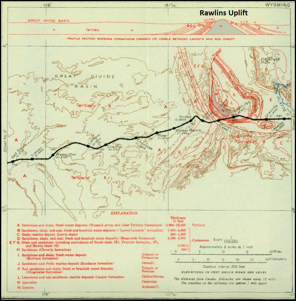 1915 Union Pacific Railroad route map and geology map in Rawlins area, Wyoming