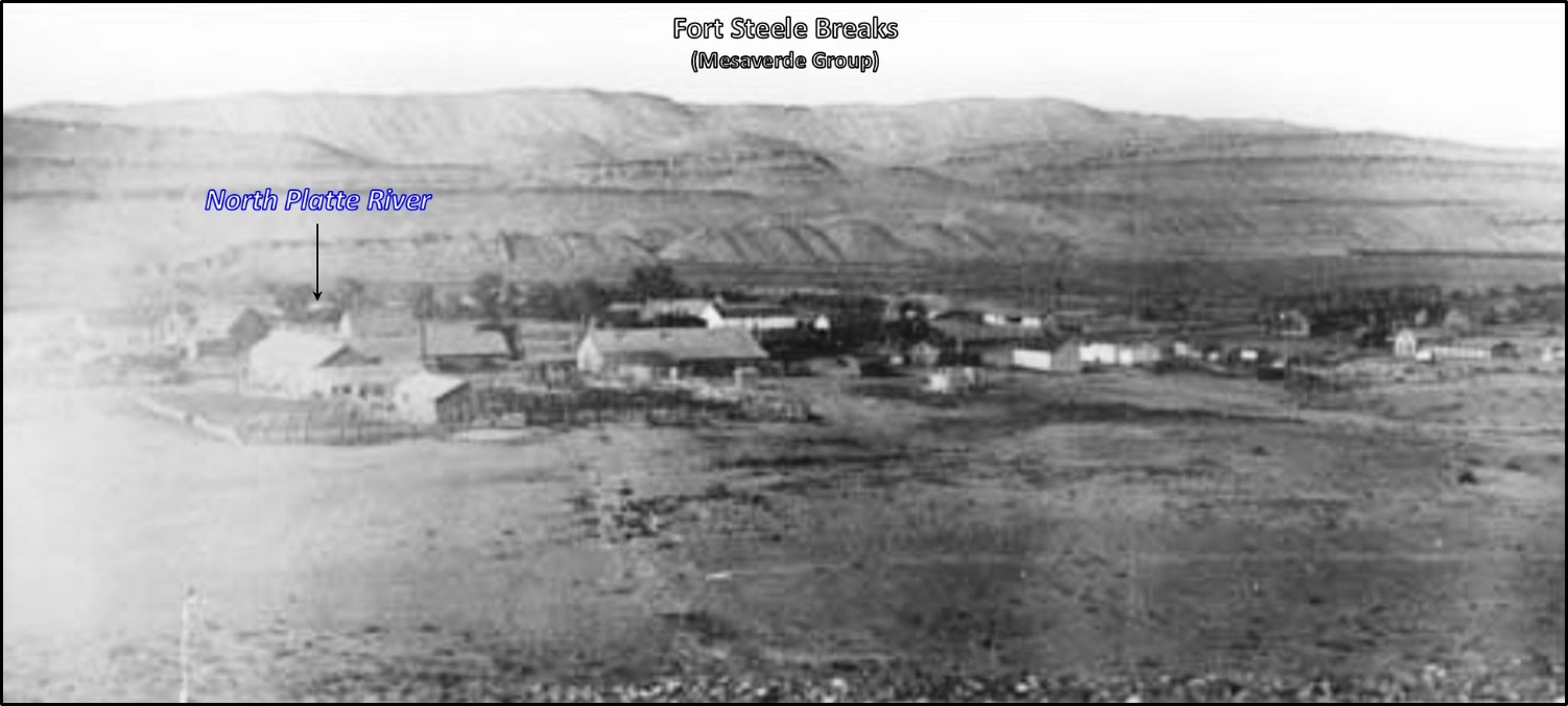 East view of Fort Fred Steele, 1878, Wyoming