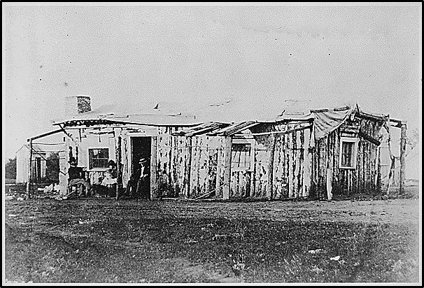 Historic picture of Fort Rawlins officer's quarters, 1877, Wyoming