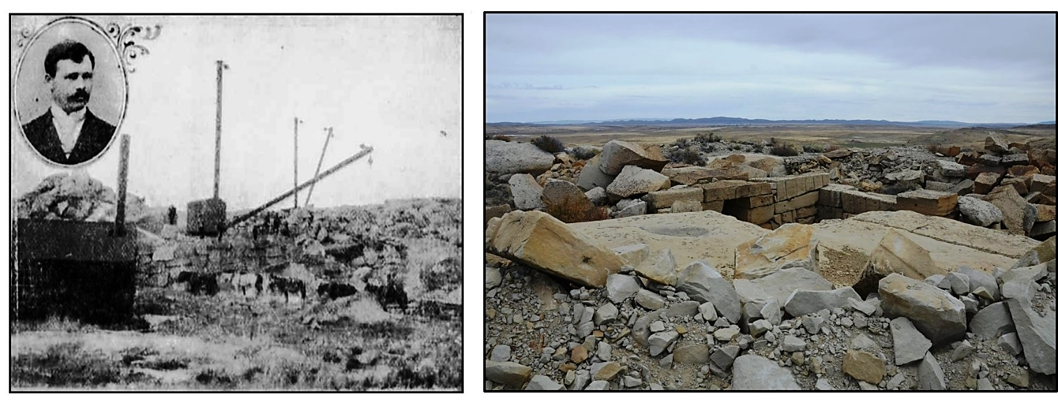 Pictures of Rawlins Mesaverde Sandstone Quarry, late 19th century and recent, Carbon County, Wyoming