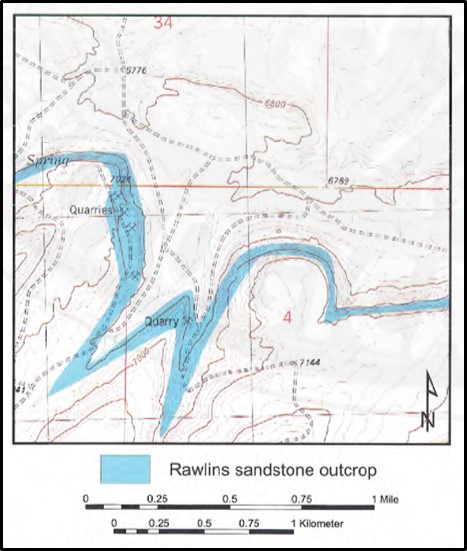 Topographic map of Rawlins Mesaverde Sandstone outcrop and quarries, Carbon County, Wyoming