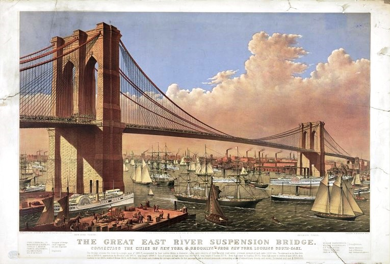 Brooklyn Bridge Currier and Ives lithograph, 1877