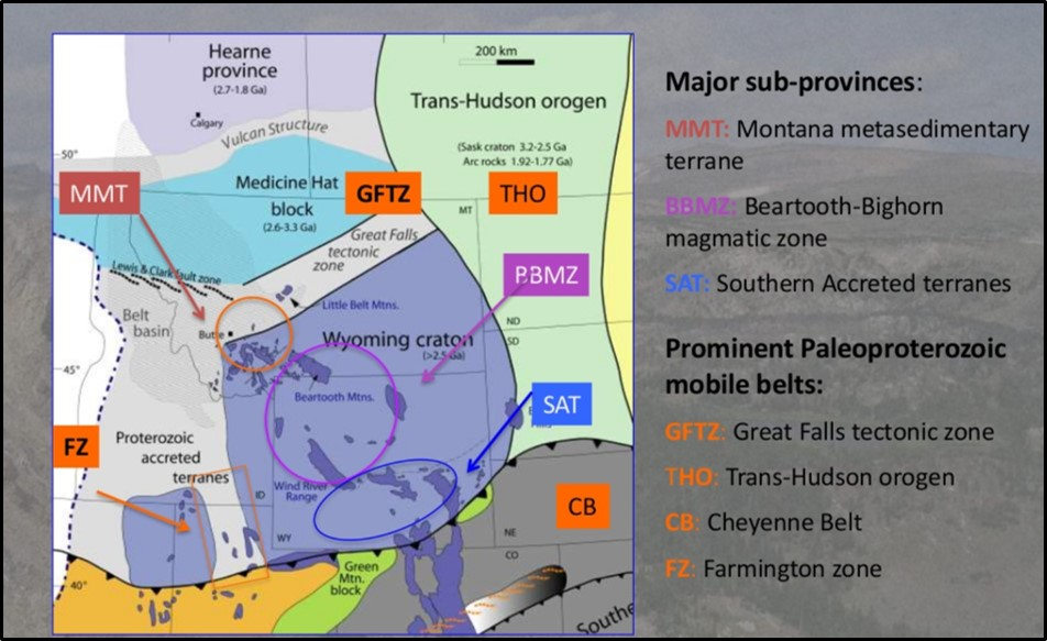 Geology map of Archean Wyoming Craton with major sub-provinces annotated