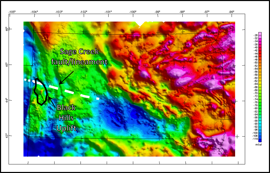 Bouguer gravity anomaly map of South Dakota