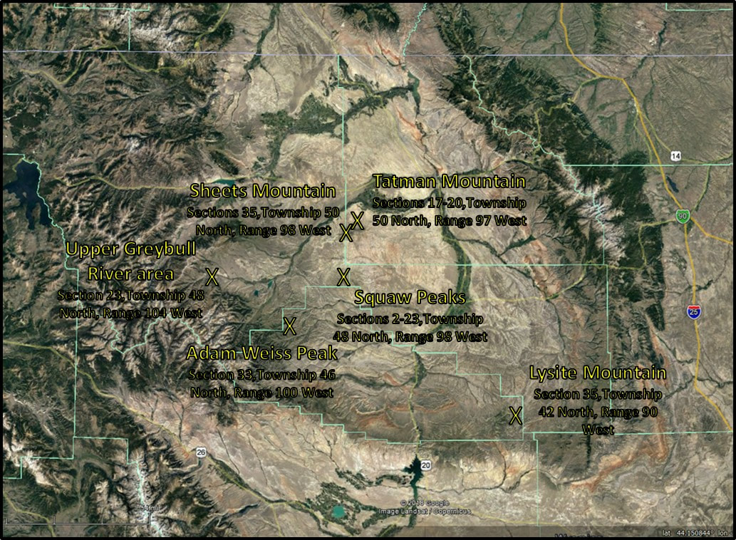 Map of Tatman Formation erosional remnants, Bighorn Basin, Wyoming