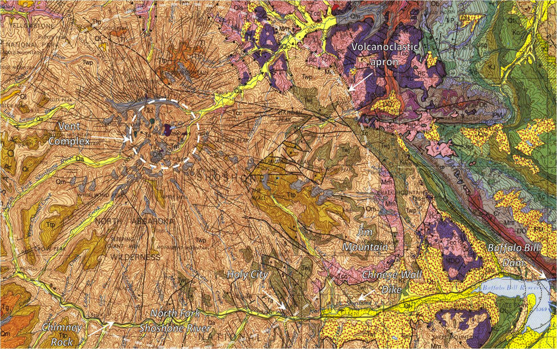 Geologic map Sunlight Basin Volcano, Park County, Wyoming