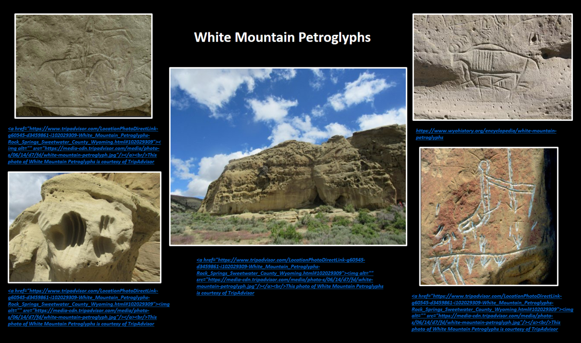 Pictures of White Mountain Petroglyphs, Sweetwater County, Wyoming